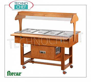 Refrigerated display stands Refrigerated display trolley in WENGE 'or NOCE color wood, brand FORCAR, complete with plexiglass dome and 2 support shelves, capacity 4 GN 1/1 containers (not included), temp. -5 ° / + 5 ° C, static refrigeration , V.230 / 1, Kw.0.25, dim.mm.1480x1120x1410h