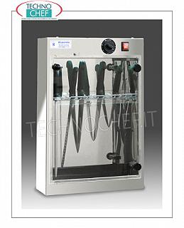 Sterilizers for knives and tools STERILIZER UV STAINLESS STEEL KNIVES for wall, capacity 15 KNIVES, RACK FOR EXTRACTABLE knife support, irradiation power 1 TUV-C lamp 0.16 kw, V. 220-240 / 1, dim. 510x130x600h mm
