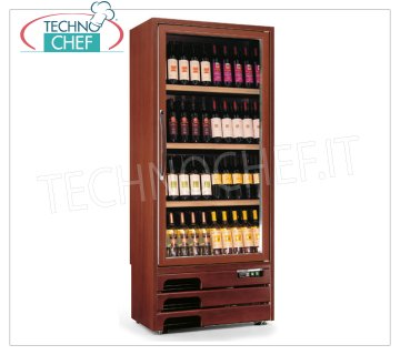 Technochef - 1 DOOR WINE refrigerator for 112 bottles, MONO or MULTITEMPERATURE, Wooden wine cellar, Professional 1 glass door, capacity 122 bottles diameter 75 mm, STATIC Multitemperature + 5 / + 7 / + 10 + 16 ° C or VENTILATED Temp. + 5 / + 16 ° C, Led lighting, V .230 / 1, Kw.0,65, Weight 134 Kg, dim.mm.827x523x1930h