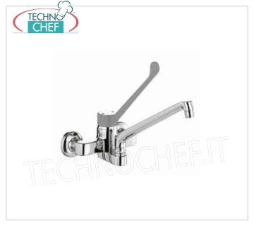 Two-hole wall mounted mixer tap Wall mounted two-hole mixer set with swivel spout and Clinic washer