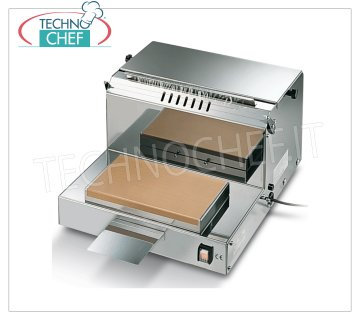 TECHNOCHEF - Manual packaging machine, Film rolls 400 mm, Mod.DISPENSER 40M PACKAGING MACHINE - DISPENSER FILM bench in STAINLESS STEEL, HEATING PLATE 290x165 mm, FILM CUTTING by means of a LOW VOLTAGE HOT WIRE, suitable for film rolls mm 400, V 230/1, kw 1.15, dimensions mm 465x500x290