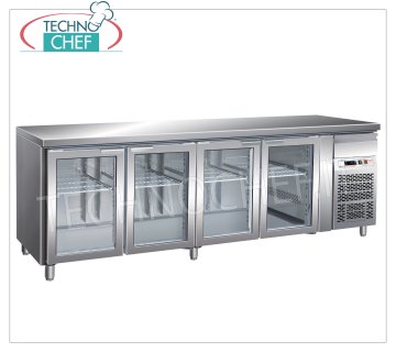 Forcar - Refrigerated Table Fridge 4 Glass Doors, lt. 553, Temp. -2 ° / + 8 ° C, Ventilated, mod.G-GN4100TNG Refrigerated Table 4 Glass Doors and neutral drawer, Professional, capacity 553 lt, temperature -2 ° / + 8 ° C, GastroNorm 1/1, ventilated refrigeration, Gas R290, internal light, V.230 / 1, Kw.0, 26, Weight 153 Kg, dim.mm.2230x700x860h