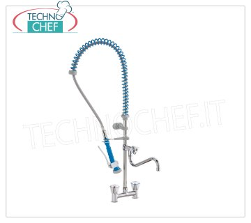 Two-hole counter tap with spout and suspended shower TWO-HOLE TAP for counter, INCLINED CONTROLS with KNOBS, dispensing with CANE and SUSPENDED SHOWER
