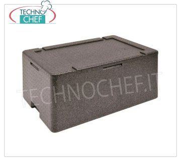 Technochef - ISOTHERMAL CONTAINER for GN 1/1 Polypropylene containers Isothermal polypropylene container with upper opening, suitable for 1 GN 1/1 tray, H 10 cm or submultiples, internal dimensions 534x340x110h mm, external dimensions 600x400x170h mm