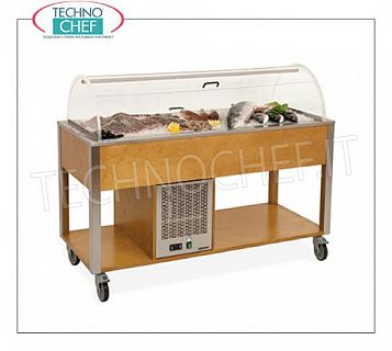 Refrigerated display stands Refrigerated wooden display trolley in the standard colors, with plexiglass dome, capacity 4 BOWLS Gastro-Norm 1/1 (excluded), temp. + 4 ° / + 10 ° C, static refrigeration, V.230 / 1, Kw. 0.47, dim.mm.1610x680x1200h