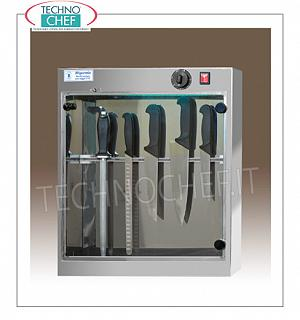 Sterilizers for knives and tools STERILIZER UV-RAY STAINLESS STEEL KNIVES, capacity 10 KNIVES, MAGNETIC KNIFE SUPPORT, irradiation power 1 TUV-C lamp 0.16 kw, V. 220-240 / 1, dim. 510x130x600h mm