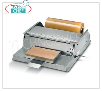 TECHNOCHEF - Manual packaging machine, 500 mm film rolls, Mod.DISPENSER 51M PACKAGING MACHINE - DISPENSER FILM bench in STAINLESS STEEL, HEATING PLATE 300x175 mm, FILM CUTTING by means of a LOW VOLTAGE HOT WIRE, suitable for film rolls mm 500, V 230/1, kw 1.15, dimensions mm 590x720x185