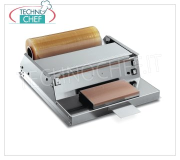 TECHNOCHEF - Manual packaging machine, Film rolls 500 mm, Mod.DISPENSER 51MB PACKAGING MACHINE - DISPENSER FILM bench in STAINLESS STEEL, HEATING PLATE 300x175 mm, FLUID PROFILE that does not cause smoke, suitable for film rolls mm 500, V 230/1, kw 1.90, dimensions mm 590x720x185