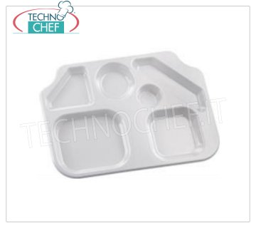 Trapezoidal Trapezoidal Tray in Polystyrene Trapezoidal tray with maxi trapezoidal compartments in polystyrene, white color, 6 large compartments, dim.mm.450x320 - UNIT PRICE - This item can be purchased in PACKAGES of 20 pieces