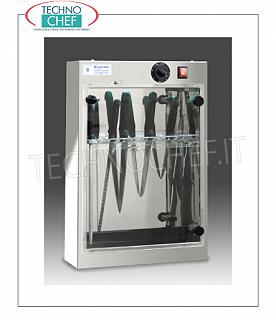 Sterilizers for knives and tools STERILIZER UV STAINLESS STEEL KNIVES, wall mounted, capacity 14 KNIVES, EXTRACTABLE knife rack, irradiation power 1 TUV-C lamp 0.16 kw, V. 220-240 / 1, dim. mm 400x140x602h