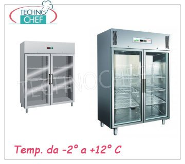 Double glass door upright fridge