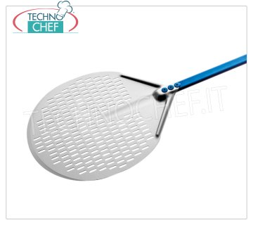 GI.METAL - Round Perforated Pizza Shovel in Aluminum, Super Professional Line Round pizza shovel completely perforated in aluminum alloy, Super Professional Line light, flexible and resistant, diameter mm 330, handle length 1500 mm.