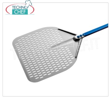 GI.METAL - Rectangular Perforated Pizza Shovel in Aluminum, Super Professional Line Rectangular pizza box perforated completely in aluminum alloy, Super Professional Line light, flexible and resistant, dim.mm 330x330, handle length 1500 mm.