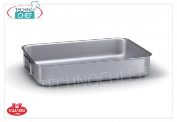 Ballarini Professionale - HIGH ROASTER 2 aluminum handles, thickness 3 mm, 7000 series Heavy heavy roasting pan with 2 articulated handles, SERIES 7000, in ALUMINUM, dim. mm 250x180x6500h