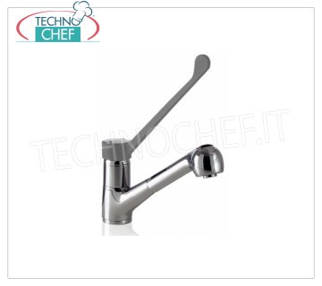 Single-hole mixer tap with pull-out spray Single-hole mixer tap with clinical lever and pull-out spray