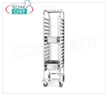 TECHNOCHEF - Trolley for 15 GN 1/1 Trays, Mod.810613 STAINLESS STEEL RACK TROLLEY, with 15 pairs of guides, pitch 80 mm, for 15 trays Gastro-Norm GN 1/1 (mm 530x325), dim.mm.615x450x1695h