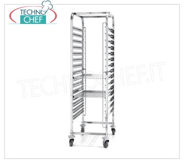 TECHNOCHEF - Trolley for 15 trays of 600x400 mm, Mod.810651 STAINLESS STEEL RACK TROLLEY, with 15 pairs of guides, pitch 80 mm, for 15 trays of mm 600x400, dim.mm.690x515x1695h