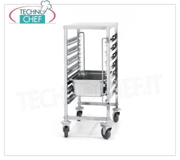 TECHNOCHEF - Trolley for 7 GN 1/1 Trays with Upper Stainless Steel Top, Mod.810668 STAINLESS STEEL TRAY with WORK SHELF, with 7 pairs of guides, pitch 80 mm, for 7 trays Gastro-Norm GN 1/1 (mm 530x325), dim.mm.380x550x925h