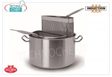 Ballarini Professionale - PASTA COOKER STAINLESS STEEL, 2 BASKETS, for INDUCTION, 9200 SERIES STAINLESS STEEL PASTA COOKER, 2 BASKETS in micro-perforated sheet, SERIES 9200, suitable for INDUCTION PLATES in STAINLESS STEEL 18/10, diameter mm.360, high mm.215