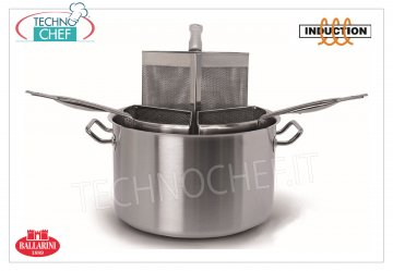 Ballarini Professionale - PASTA COOKER STAINLESS STEEL 3 BASKETS, for INDUCTION, 9200 Series PASTA COOKER 3 BASKETS 1/3, SERIES 9200, suitable for INDUCTION PLATES in STAINLESS STEEL 18/10, diameter mm.360, high mm.215