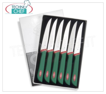 Sanelli - PACK OF PROFESSIONAL CUT KNIVES 6 PCS PREMANA, Mod. 903606 Pack of 6 rib knives, PREMANA PROFESSIONAL line, with semi-rigid, serrated and pointed blade, length 6 cm.