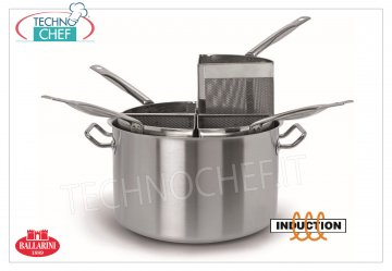 Ballarini Professionale - PASTA COOKER 4 BASKETS, for INDUCTION, 9200 Series HIGH PASTA COOKER 4 BASKETS 1/4, SERIES 9200, suitable for INDUCTION PLATES in STAINLESS STEEL 18/10, diameter mm.360, high mm.220