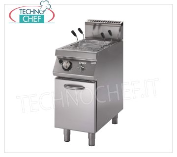 Technochef - GAS PASTA COOKER on FURNITURE, 1 lt. 40 tank, mod.PK90 / 40CPGS Gas pasta cooker on cabinet, Line 900, 1 stainless steel tank of lt. 40, thermal power Kw. 11,8, Weight 98 Kg, dimensions mm 400x900x870h