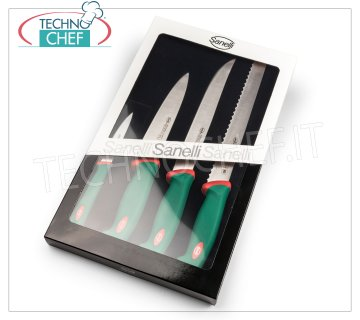Sanelli - PROFESSIONAL KITCHEN KNIVES SET 4 PCS PREMANA, Mod. 909604 Pack of 4 kitchen knives, PREMANA PROFESSIONAL line, consisting of: ROAST KNIFE 24 cm, BREAD KNIFE 24 cm, KITCHEN KNIFE 18 cm, TROWEL 10 cm.