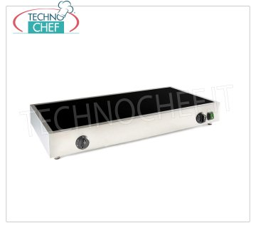 TECHNOCHEF - Professional Electric Chain Warmer in double glass ceramic, Mod. 999.1896 ELECTRIC GLASS Heaters in CERAMIC GLASS with 2 COOKING ZONES, with ENERGY REGULATORS, suitable for precooked tortillas, V.230 / 1, Kw.2x1,7, dim.mm.800x400x90h