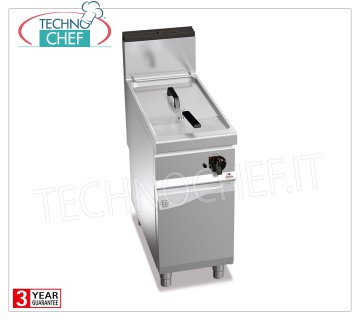 TECHNOCHEF - GAS FRYER on MOBILE, 1 BATCH of lt.18, Analog Controls, Mod.9GL18MI GAS FRYER on MOBILE, BERTO'S, MAXIMA 900 Line, INDIRECT GAS FRY Series, 1 Lt.18 TANK, Analog Controls, Indirect Heating, Kw.14,00 heat output, Weight 59 Kg, dim.mm.400x900x900h