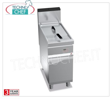 TECHNOCHEF - GAS FRYER on MOBILE, 1 BATCH of lt.18, Electronic Controls, Mod.9GL18MIEL GAS FRYER on MOBILE, BERTO'S, MAXIMA 900 Line, INDIRECT GAS FRY Series, 1 Lt.18 BATH, Digital Electronic Controls, Indirect Heating, Kw.14.00 heat output, Weight 59 Kg, dim.mm.400x900x900h