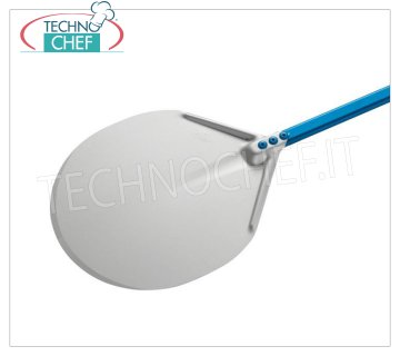 GI.METAL - Round Aluminum Pizza Shovel, Super Professional Line Round pizza shovel completely in aluminum alloy, Super Professional Line light, flexible and resistant, 330 mm diameter, handle length 1500 mm.