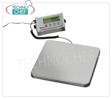 Technochef - DIGITAL ELECTRONIC SCALE 150 Kg, Mod.A300151 Electronic digital table scale with mobile display, max capacity 150 Kg, division 50 gr, dim.mm.320x300x42h