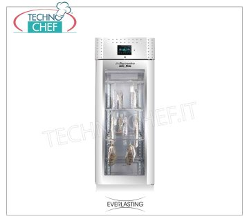 Salami seasoning-seasoning cabinet, max yield 100 Kg Cured meat curing cabinet, 1 glass door, max capacity 100 Kg, Temp. 0 ° / + 30 ° C, controlled relative humidity from 40% to 95%, digital controls, V. 230/1, Kw.1,8, Weight Kg 156, dim.mm.750x850x2080h