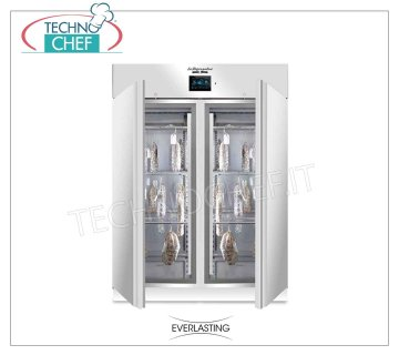 Seasoning-Seasoning Cabinet for Salami, max yield 200 Kg Cured meat curing cabinet, 2 doors, max capacity 200 Kg, Temp. 0 ° / + 30 ° C, controlled relative humidity from 40% to 95%, digital controls, V. 230/1, Kw 2,6, Weight Kg 193 , dim.mm.1500x850x2080 h