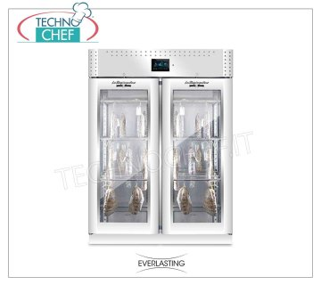 Salami seasoning-seasoning cabinet, max yield 200 Kg Cured meat curing cabinet, 2 glass doors, max capacity 200 Kg, Temp. 0 ° / + 30 °, controlled relative humidity from 40% to 95%, digital controls, V.230 / 1, Kw 2,6, Weight 193 Kg , dim.mm.1500x850x2080h