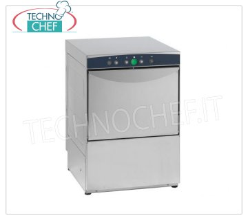 TECHNOCHEF - Professional Bar glasswashers, round basket Ø 35 cm, Mechanical controls, Mod.AF35.25 STAINLESS STEEL GLASS WASHERS with ROTONDO 350 mm diameter basket, ELECTROMECHANICAL controls, 1 cycle of 120 sec, max glasses height 250 mm, V.230 / 1, Kw.3,00, Weight 38 Kg, dim.mm.440x497x640h