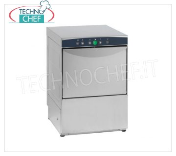 TECHNOCHEF - Professional Bar glasswashers, square basket 38x38 cm, Mechanical controls, Mod. STAINLESS STEEL GLASS WASHERS with 380x380 mm QUADRO basket, ELECTROMECHANICAL controls, 1 cycle of 120 sec, max glasses height 250 mm, V.230 / 1, Kw.3.0, Weight 39 Kg, dim.mm.440x497x640h