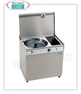 Vegetable washer-extractors Stainless steel vegetable / juice washer with water recovery tank, capacity 48 liters, speed rpm 350, V.230 / 1, Kw.0.66, Weight 115 Kg, dim.mm.850x600x850h