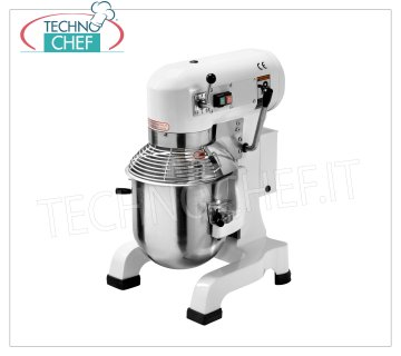 Technochef - 10 lt. Planetary Professional Dough Mixer, Line AG, mod. AG10 10 lt professional planetary mixer, AG line, with bowl, hook, spatula, whisk and grating protection in AISI 304 stainless steel, 3 speeds, V.230 / 1, Kw.0.37, Weight 57 Kg, dim.mm .450x375x608h