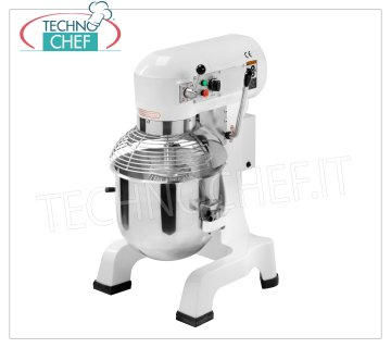 TECHNOCHEF - Professional Planetary Mixer, Line AG, with 20 lt bowl, Mod.AG20 Planetary mixer lt. 20, AG Line, with bowl, hook, spatula, whisk and grill guard in AISI 304 stainless steel, 3 speeds, V.230 / 1 or 400/3, Kw. 0.55, Weight 87 Kg, dim.mm.530x450x780h