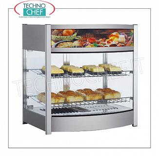Hot counter display cases DISPLAY HOT DISPLAY with 2 adjustable shelves, glass on 4 sides, operator side doors, temperature adjustable from + 30 ° to + 90 ° C, luminous frontal sign, V.230 / 1, Kw.1.00, Weight 22, 5 Kg, dim.mm.645x490x660h