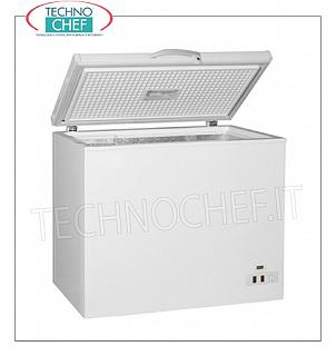 Technochef - WELL horizontal freezer, lt.197, Static, Class A +, mod.AK205CF WELL horizontal freezer, white exterior, capacity 197 lt, temp ≤ -18 ° C, Static, ECOLOGICAL in Class A +, Gas R600a, .230 / 1, Kw.0,082, Weight 42 Kg, dim.mm.895x590x850h