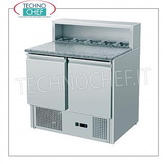 Refrigerated saladette for salads and pizzeria with 2 DOORS GN 1/1 Refrigerated saladette for salads and pizzeria with 2 DOORS GN 1/1, capacity 5 GN 1/6 containers, temp. + 2 ° / + 8 ° C, V.230 / 1, Kw.0,23, Weight 114 Kg, dim.mm.900x700x1080h