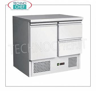Technochef - Professional Fridge / Refrigerated Tables 1 door and 2 drawers REFRIGERATED TABLE with 1 DOOR and 2 DRAWERS, capacity 240 lt, temp. + 2 ° / + 8 ° C, static refrigeration, V.230 / 1, Kw 0.23, Weight 83 Kg, dim.mm.900x700x870h