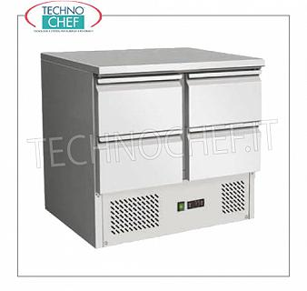 Technochef - Professional Cold / Refrigerated Tables, 4 Drawers REFRIGERATED TABLE with 4 DRAWERS, capacity 240 lt, operating temp. + 2 ° / + 8 ° C, static refrigeration with Agitator, V.230 / 1, Kw 0,23, Weight 83 Kg, dim.9mmx700x870h