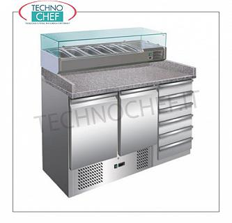 Complete pizza counters with drawers Complete refrigerated pizza counter, 2 GN 1/1 DOORS + 6-DRAWER UNIT, display case capacity 6 GN 1/4 containers, temp. + 2 ° / + 8 ° C, V.230 / 1, Kw. 0,23, dim .mm.1400x700x1430h