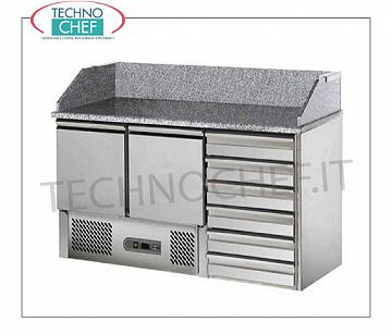 Complete pizza counters with drawers Complete refrigerated pizza counter, 2 GN 1/1 DOORS + 6-DRAWER UNIT, temp. + 2 ° + 8 ° C, V.230 / 1, Kw.0,23, dim..mm.1400x700x1030h