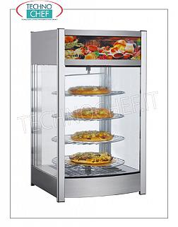 Hot counter display cases DISPLAY HOT DISPLAY with 4 revolving shelves, glass on 4 sides, operator side door, adjustable temperature from + 30 ° to + 90 ° C, luminous front sign, V.230 / 1, Kw.0.8, Weight 22 Kg , dim.mm.460x450x785h