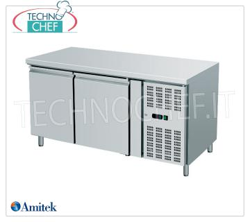 Amitek - Freezer Table 2 Doors, lt. 282, Temp.-18 ° / -22 ° C, Ventilated, Class D, mod.AK2100BT 2 DOOR Refrigerated Counter-Table, Professional, capacity 282 liters, operating temperature -18 ° / -22 ° C, Gastro-Norm 1/1, ventilated refrigeration, EC-CLASS in Class D, Gas R290, V.230 / 1, Kw. 0,52, Weight 118 Kg, dim.mm.1360x700x860h